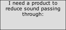 I need a product to reduce sound passing through: